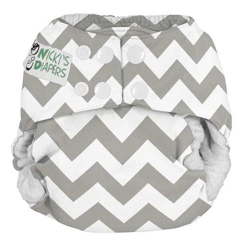 Nicki's Diapers One Size Snap Bamboo All in One - Gray Chevron