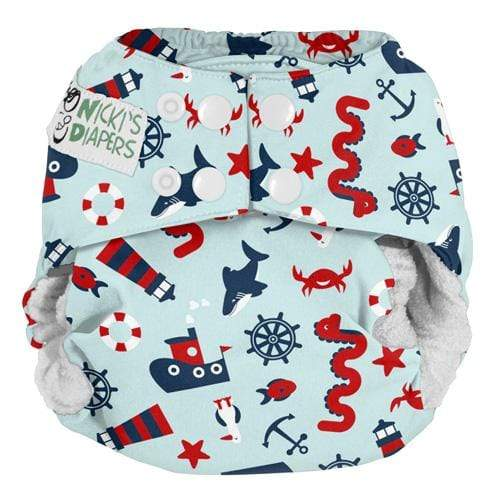 Nicki's Diapers One Size Snap Bamboo All in One - Nautical Nessie