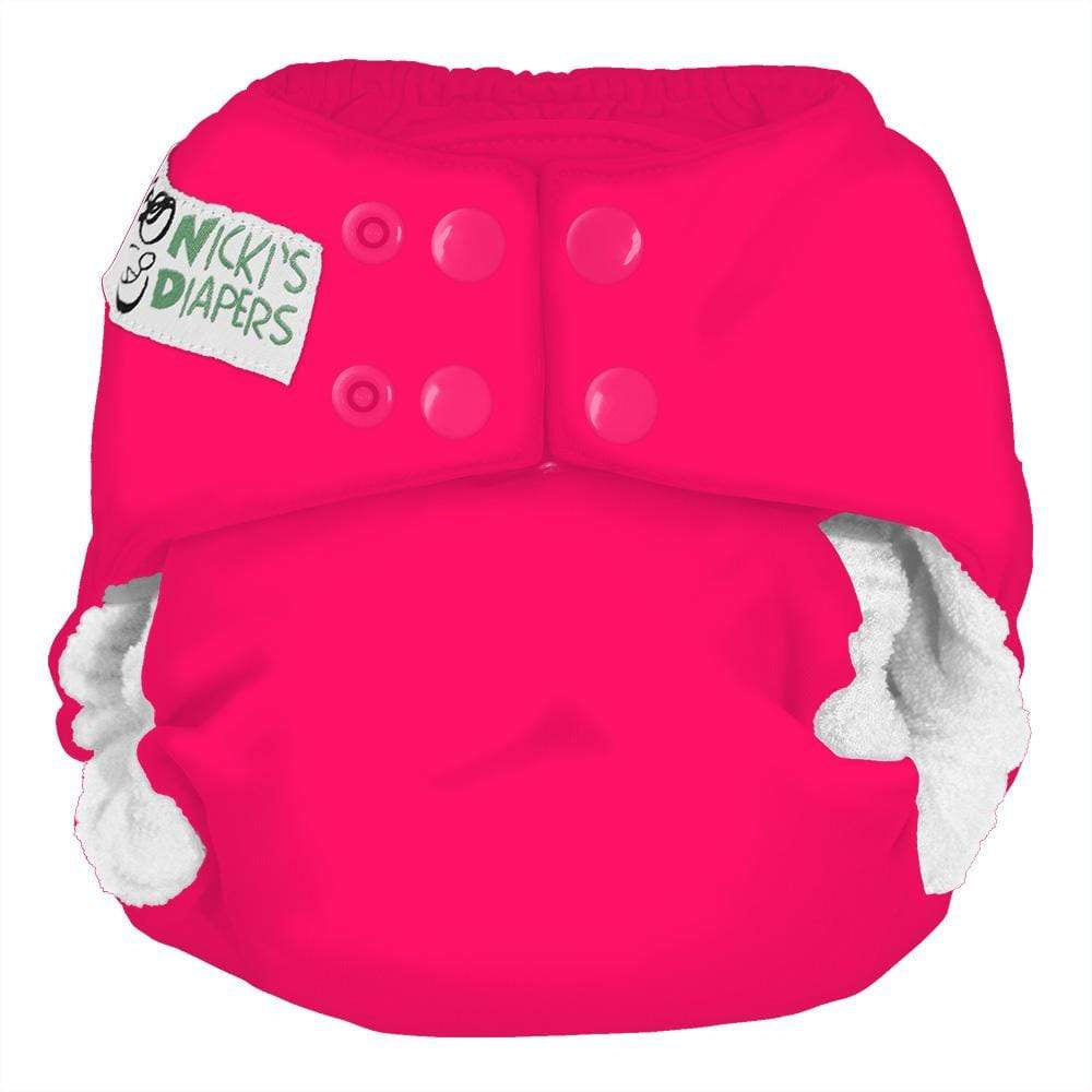 Nicki's Diapers One Size Snap Bamboo All in One - Poppin Pink