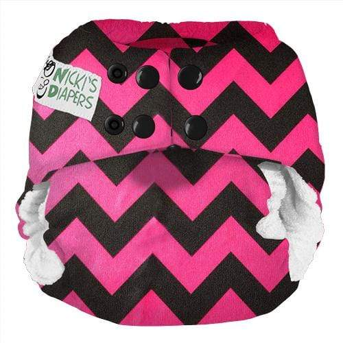 Nicki's Diapers One Size Snap Bamboo All in One - Poppin Pink Chevron
