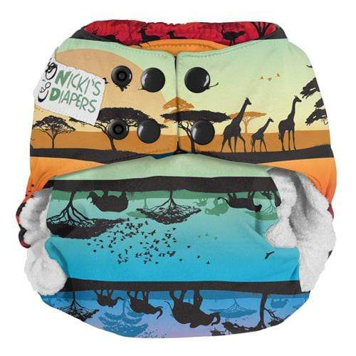 Nicki's Diapers One Size Snap Bamboo All in One - Safari Sunset