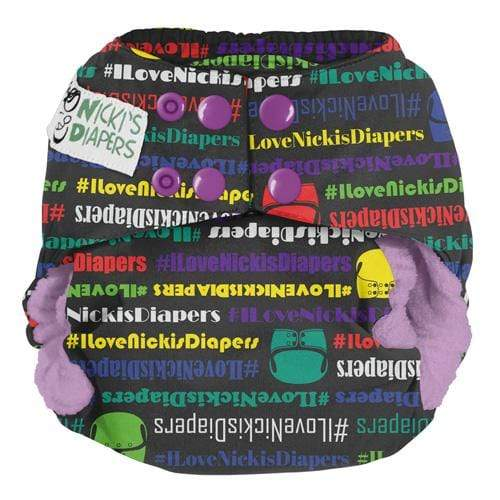 Nicki's Diapers One Size Snap Bamboo All in One - Team Spirit - Grape