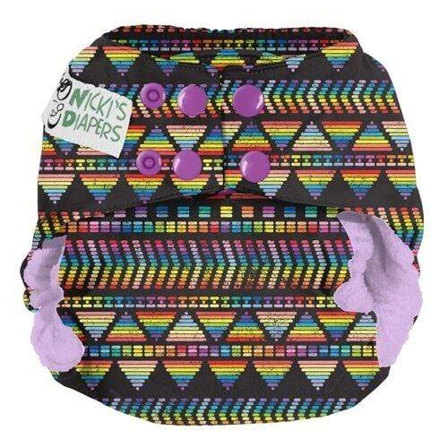 Nicki's Diapers One Size Snap Bamboo All in One - Tread Brightly -Grape Soda