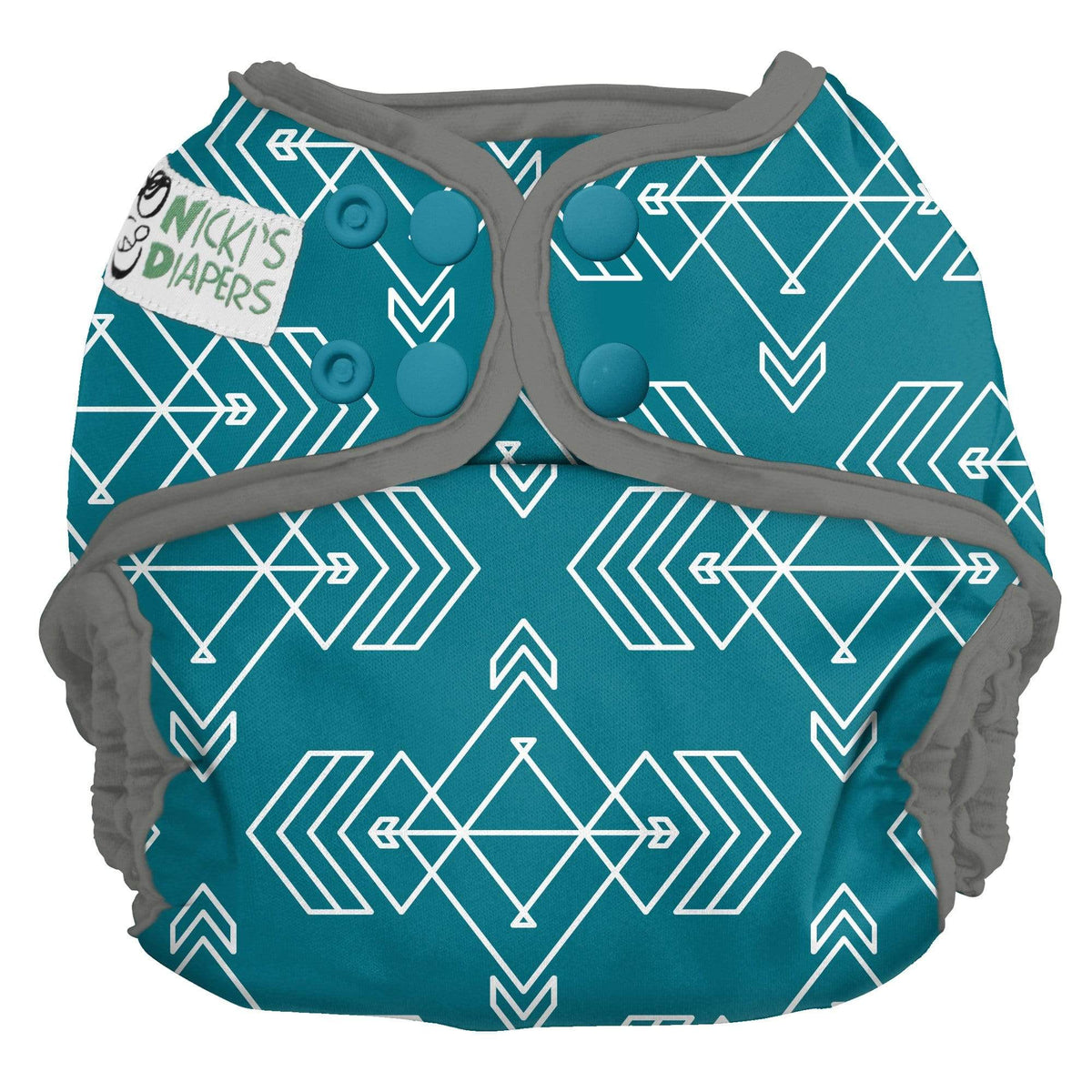 Nicki's Diapers One Size Snap Diaper Cover - Compass Lagoon
