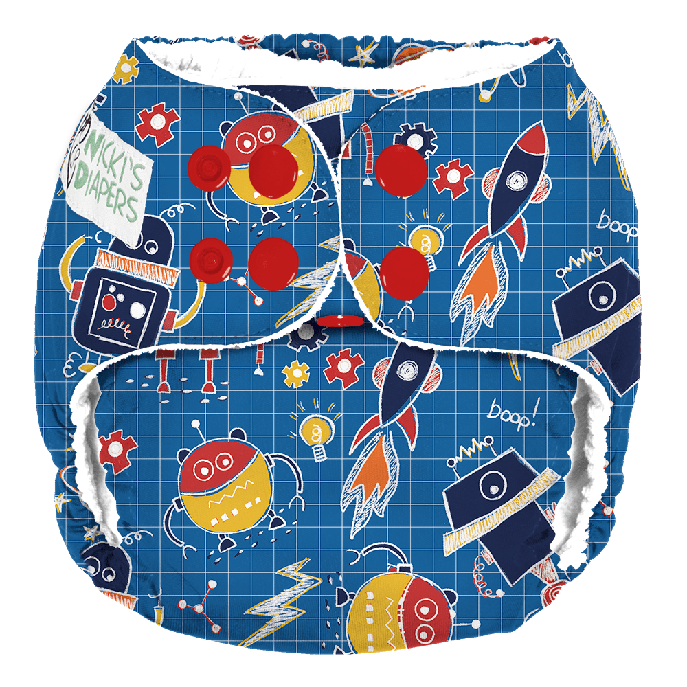 Nicki's Diapers One Size Snap Pocket - Beep Bop Boop