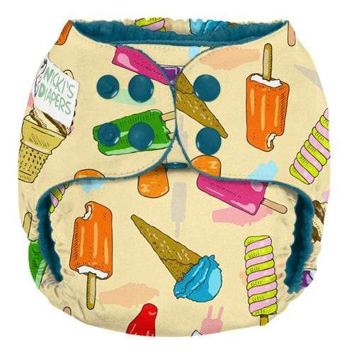 Nicki's Diapers One Size Snap Pocket - Brain Freeze - Razz