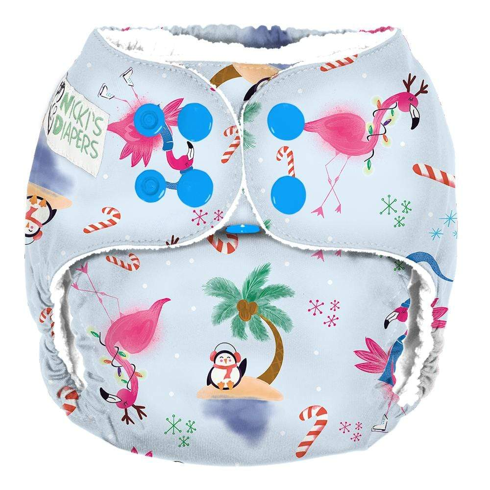 Nicki's Diapers One Size Snap Pocket - Jingle and Flamingle