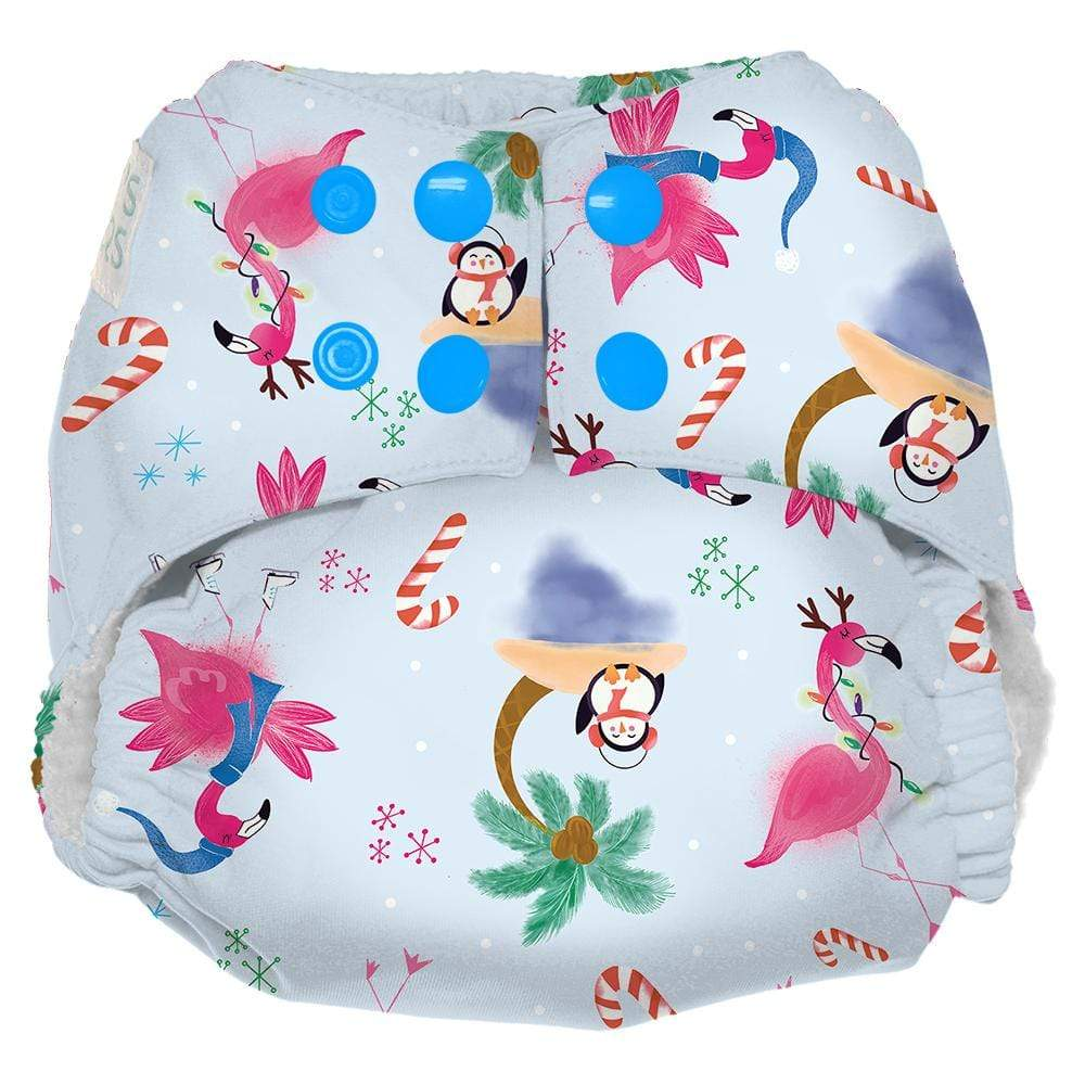 Nicki's Diapers One Size Snap Ultimate All in One - Jingle and Flamingle