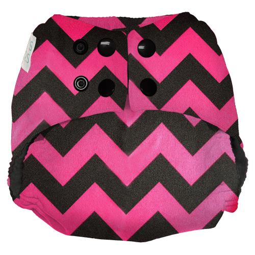 Nicki's Diapers One Size Snap Ultimate All in One - Poppin Pink Chevron