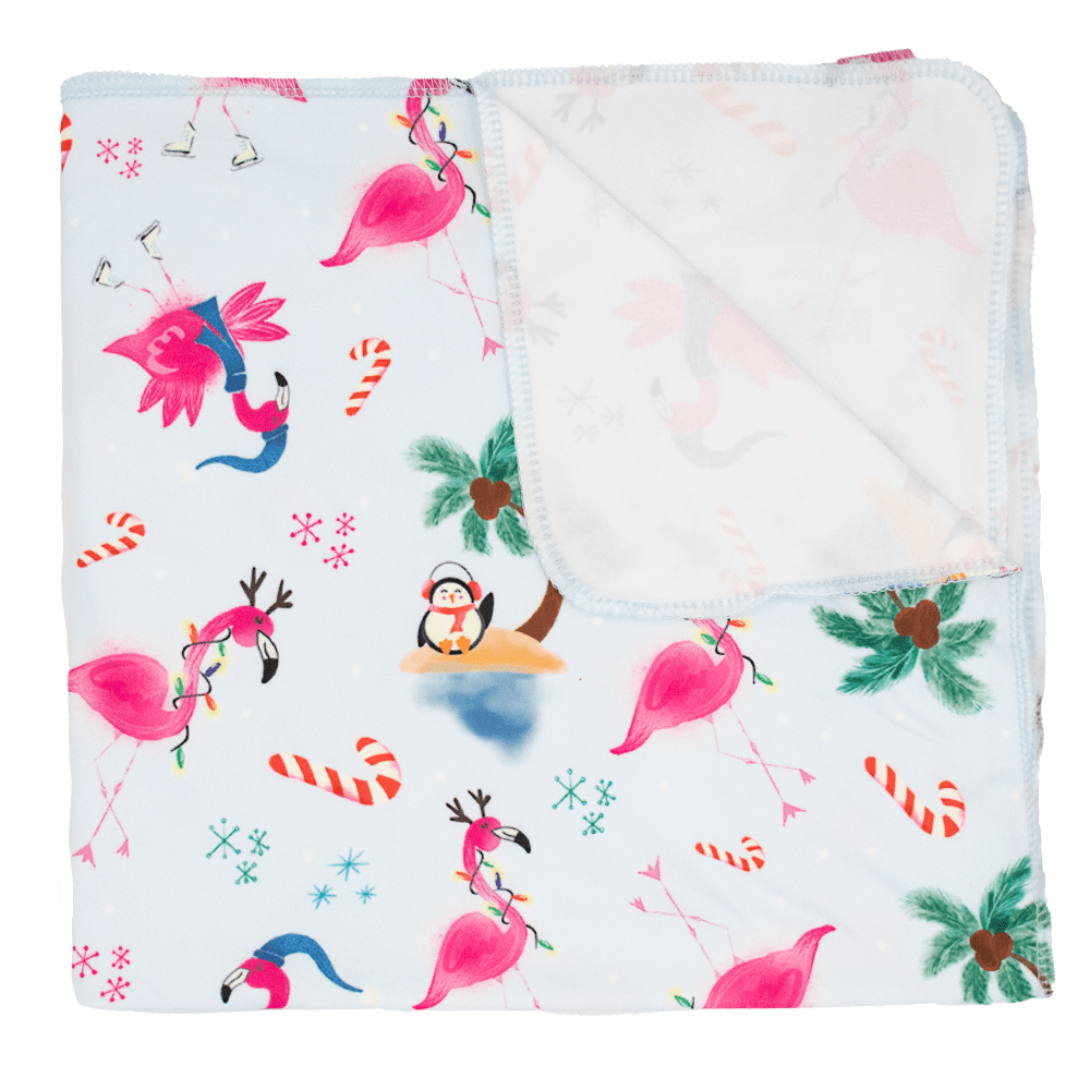 Nicki's Diapers Stretchy Swaddle Blanket - Jingle and Flamingle