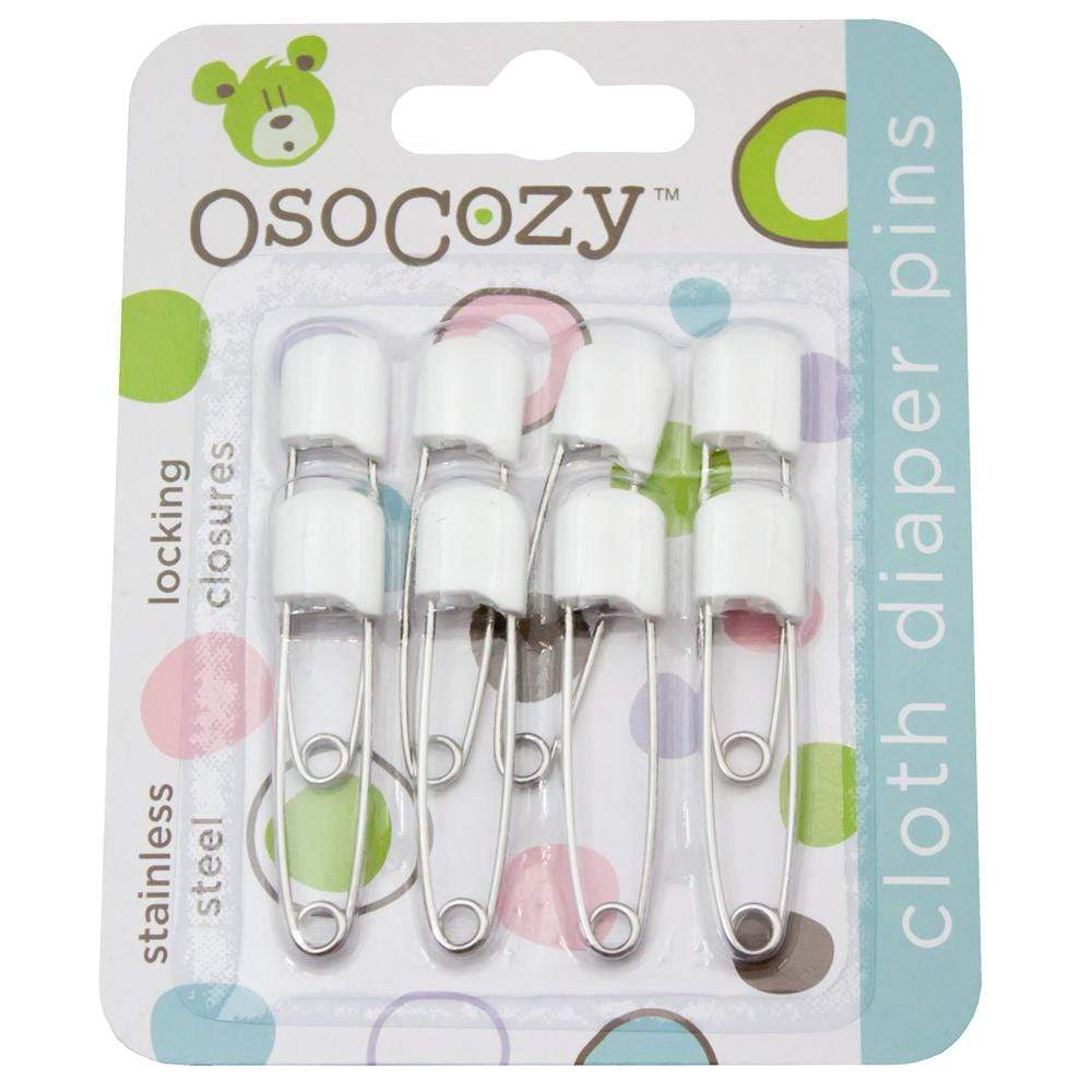OsoCozy Plastic Headed Diaper Pins 8 Pack - White