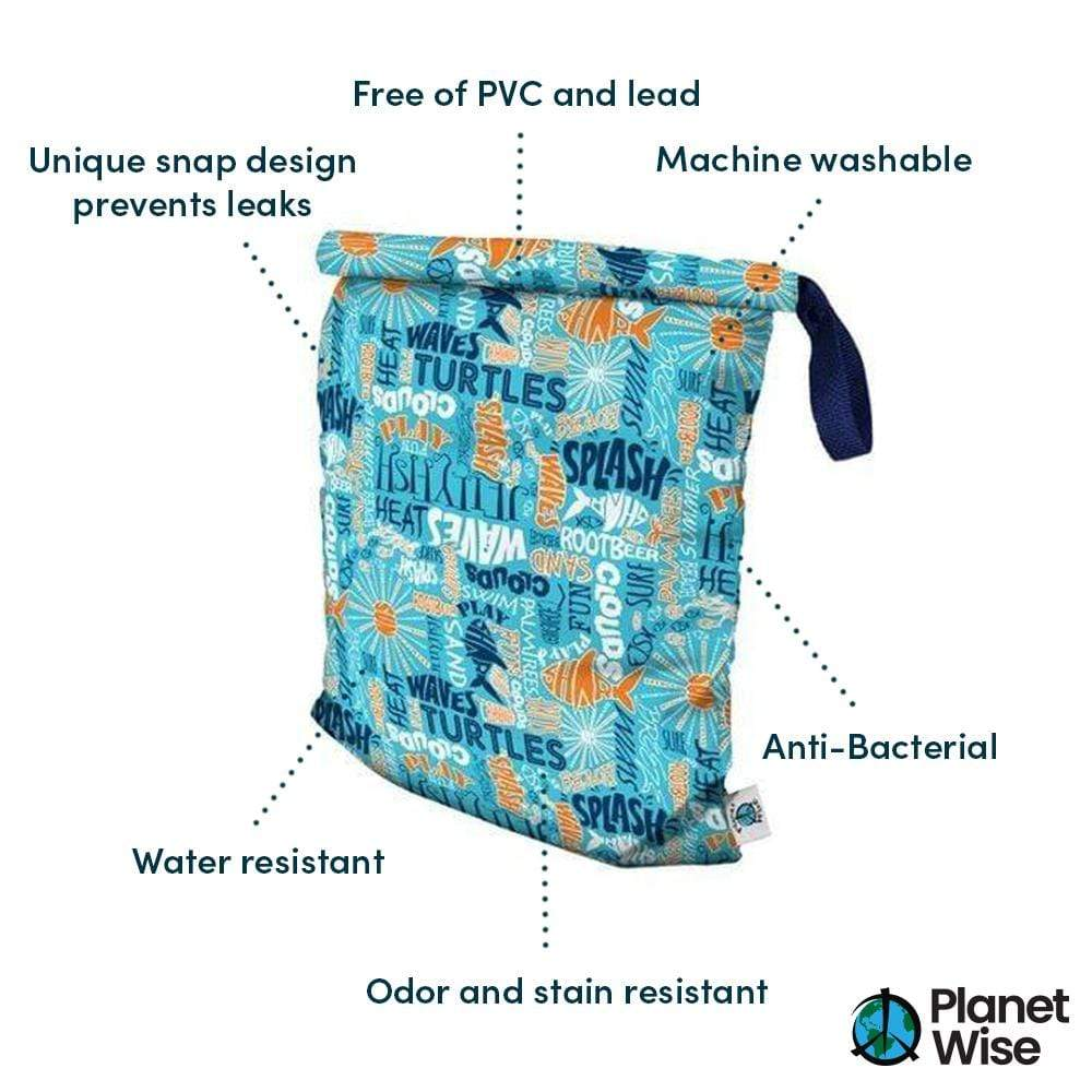 Planet Wise Large Roll-Down Wet Bag - Aqua Splash
