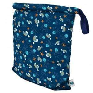 Planet Wise Large Roll-Down Wet Bag - Navy Sea Friends L