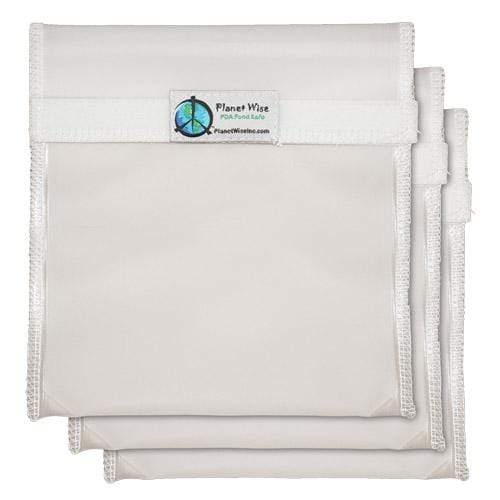 Planet Wise Reusable Clear Hook and Loop Quart Bag 3-Pack - Clear