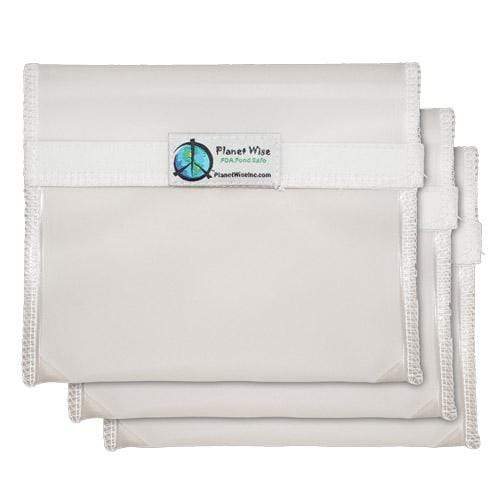 Planet Wise Reusable Clear Hook and Loop Sandwich Bag 3-Pack - Clear