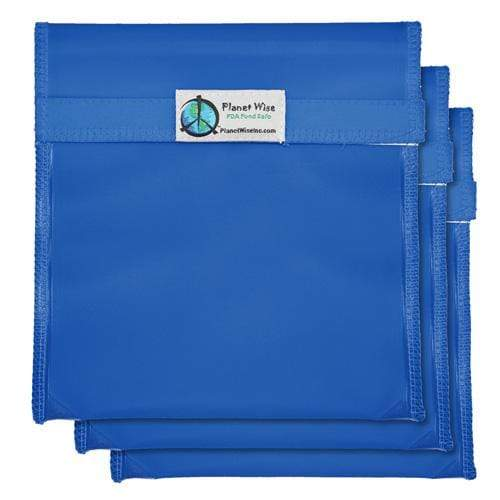 Planet Wise Reusable Tinted Hook and Loop Quart Bag 3-Pack - Blue
