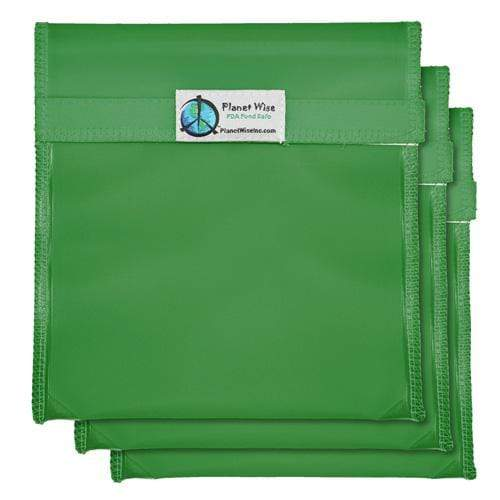 Planet Wise Reusable Tinted Hook and Loop Quart Bag 3-Pack - Green