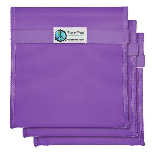 Planet Wise Reusable Tinted Hook and Loop Quart Bag 3-Pack - Purple
