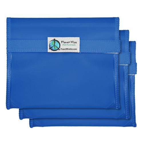 Planet Wise Reusable Tinted Hook and Loop Sandwich Bag 3-Pack - Blue