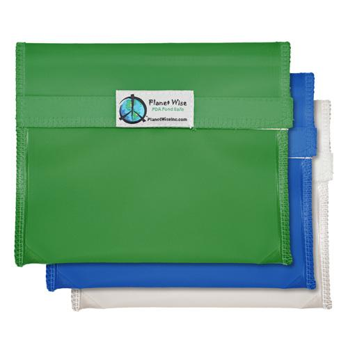 Planet Wise Reusable Tinted Hook and Loop Sandwich Bag 3-Pack - Blue/Green/Clear
