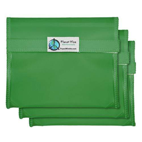 Planet Wise Reusable Tinted Hook and Loop Sandwich Bag 3-Pack - Green