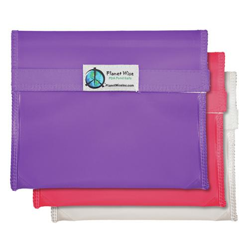 Planet Wise Reusable Tinted Hook and Loop Sandwich Bag 3-Pack - Pink/Purple/Clear