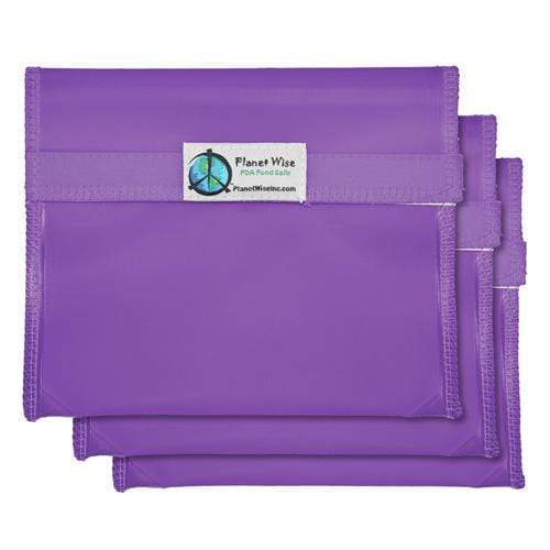 Planet Wise Reusable Tinted Hook and Loop Sandwich Bag 3-Pack - Purple