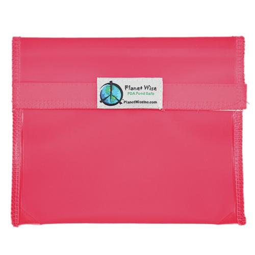Planet Wise Reusable Tinted Hook and Loop Sandwich Bag - Pink