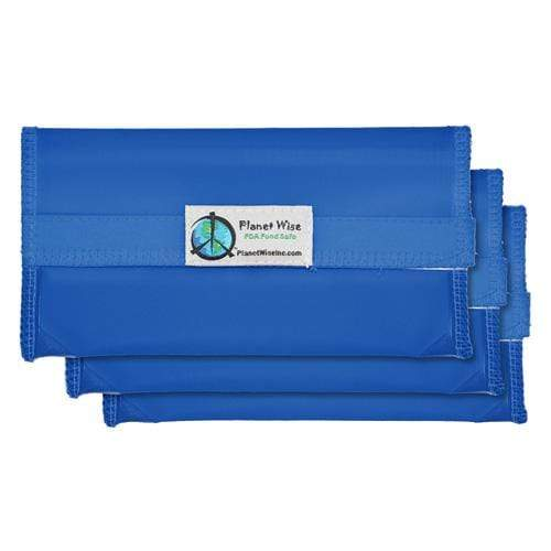 Planet Wise Reusable Tinted Hook and Loop Snack Bag 3-Pack - Blue