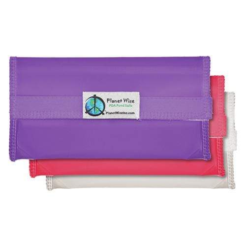 Planet Wise Reusable Tinted Hook and Loop Snack Bag 3-Pack - Pink/Purple/Clear