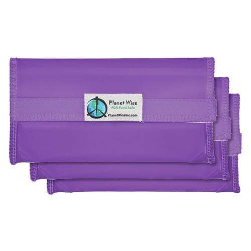 Planet Wise Reusable Tinted Hook and Loop Snack Bag 3-Pack - Purple