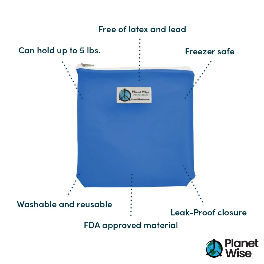 Planet Wise Reusable Tinted Zipper Quart Bag 3-Pack - Blue/Green/Clear