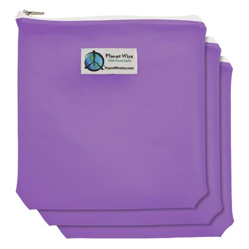 Planet Wise Reusable Tinted Zipper Quart Bag 3-Pack - Purple