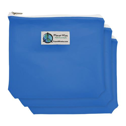 Planet Wise Reusable Tinted Zipper Sandwich Bag 3-Pack - Blue