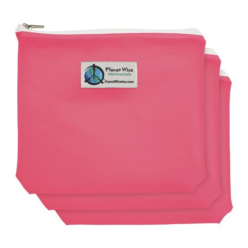 Planet Wise Reusable Tinted Zipper Sandwich Bag 3-Pack - Pink