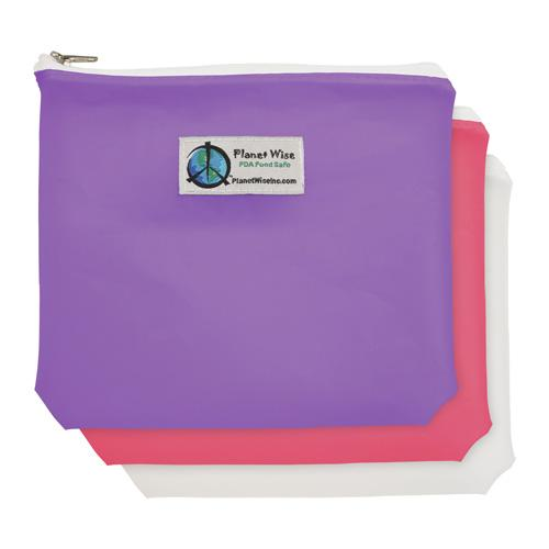 Planet Wise Reusable Tinted Zipper Sandwich Bag 3-Pack - Pink/Purple/Clear