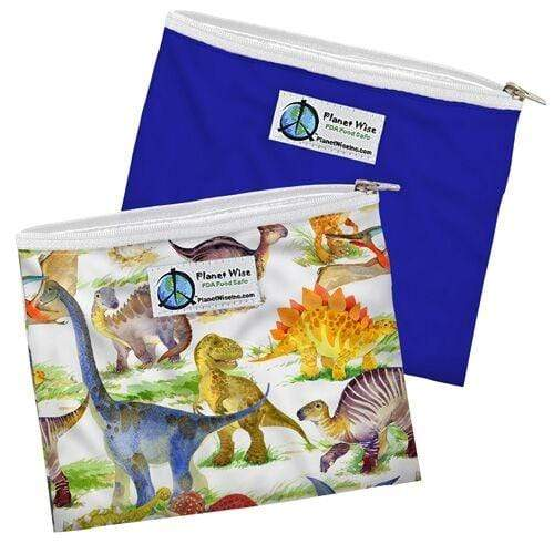 Planet Wise Reusable Zipper Sandwich Bag 2 Pack - Dino Mite/Blue Poly