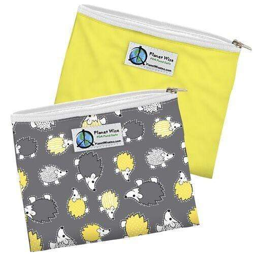 Planet Wise Reusable Zipper Sandwich Bag 2 Pack - Hedgehog/Yellow Poly