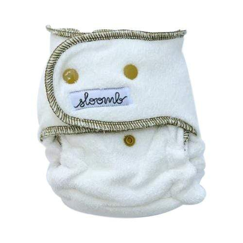 Sloomb Happy Little Clouds Bamboo Fitted Diaper - Nettle