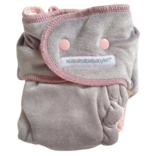 Sloomb Happy Little Clouds Silver Velour Fitted Diaper - Jackie Size 1