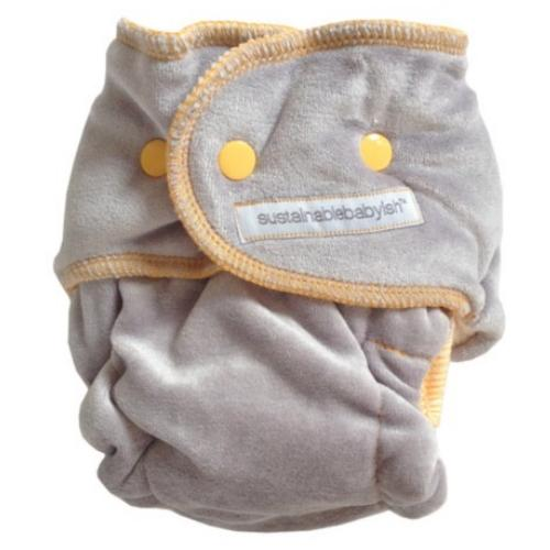 Sloomb Happy Little Clouds Silver Velour Fitted Diaper - Moxy Size 1