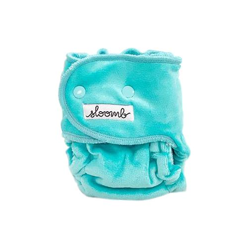 Sloomb Happy Little Clouds Velour Fitted Diaper - Aqua