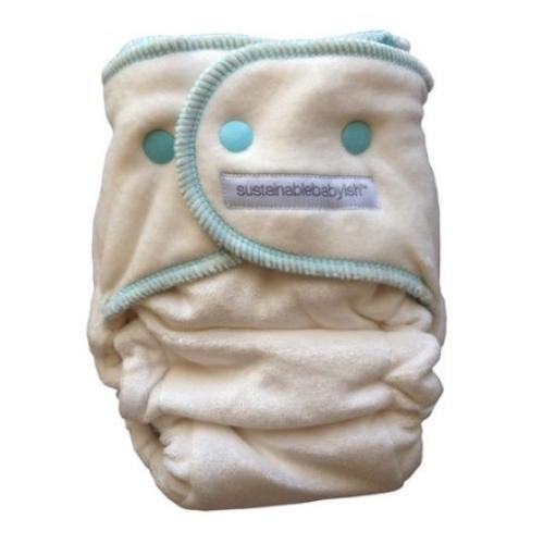 Sloomb Happy Little Clouds Velour Fitted Diaper - Camper Size 1