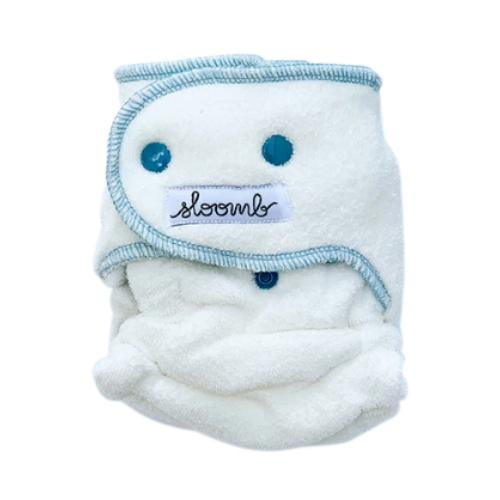 Sloomb Happy Little Clouds Velour Fitted Diaper - Ether