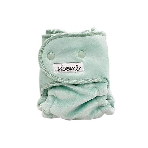 Sloomb Happy Little Clouds Velour Fitted Diaper - Mint