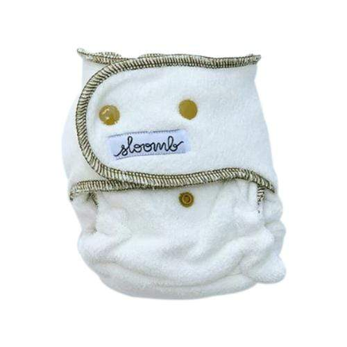 Sloomb Happy Little Clouds Velour Fitted Diaper - Nettle