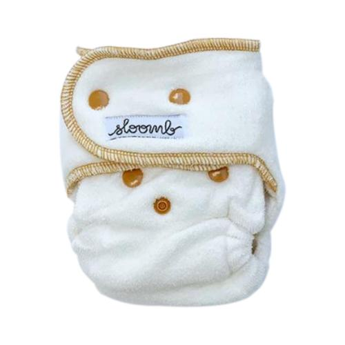 Sloomb Happy Little Clouds Velour Fitted Diaper - Yarrow