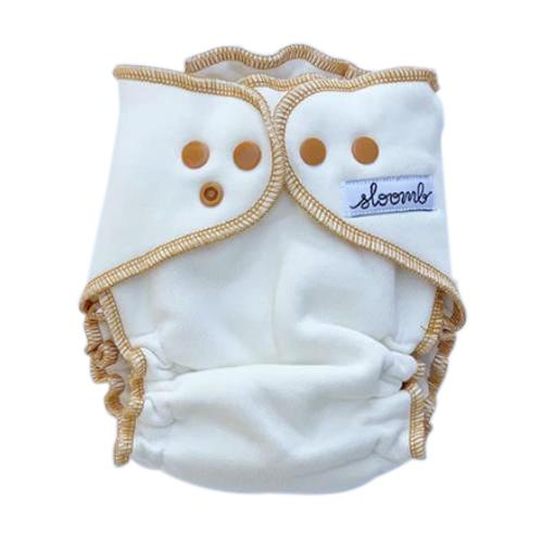 Sloomb Overnight Bamboo Fleece Fitted Diapers - Natural/Yarrow S