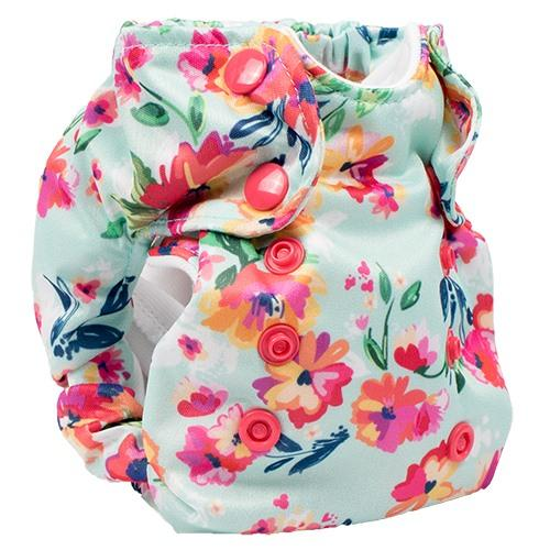 Smart Bottoms Born Smart 2.0 Newborn Cloth Diaper - Aqua Floral Newborn