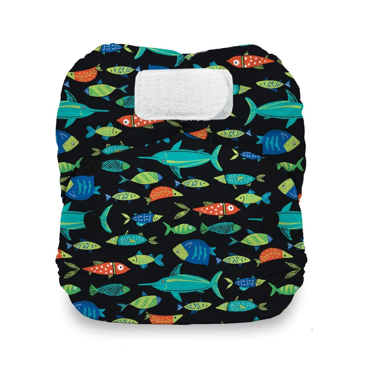 Thirsties Natural Newborn Hook and Loop All In One Diaper - Fish Tales